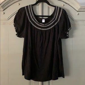 Black Peasant Top with embroidered detail